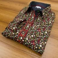 Grenouille Ladies Long Sleeve Black and Red Doodle Flower Print Shirt